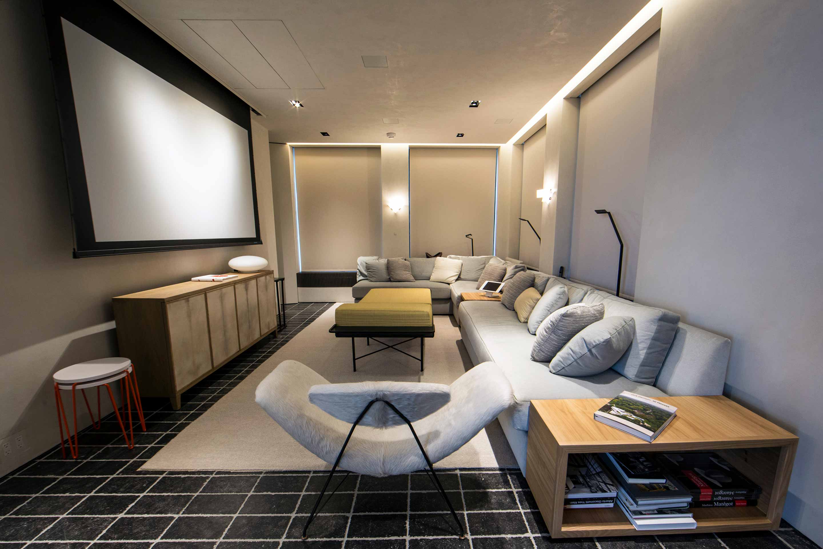 Penthouse Home Theater and Living Room